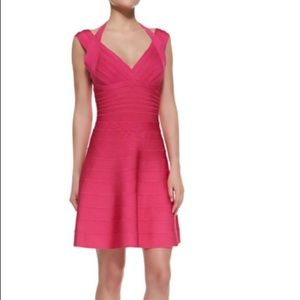 Herve Leger pink Rebekka bandage dress